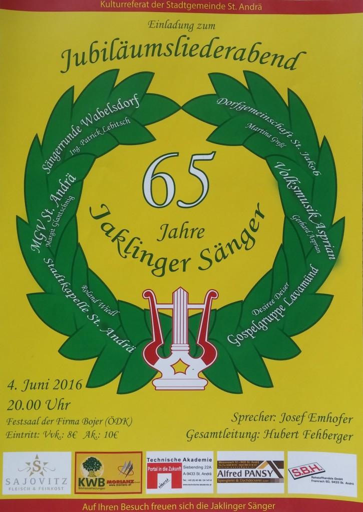 Flyer Konzert 65 Jahre Jaklinger Sänger
